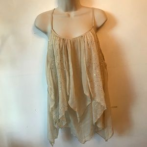 Wet Seal fairy style, sparkly, tan/cream flowy top